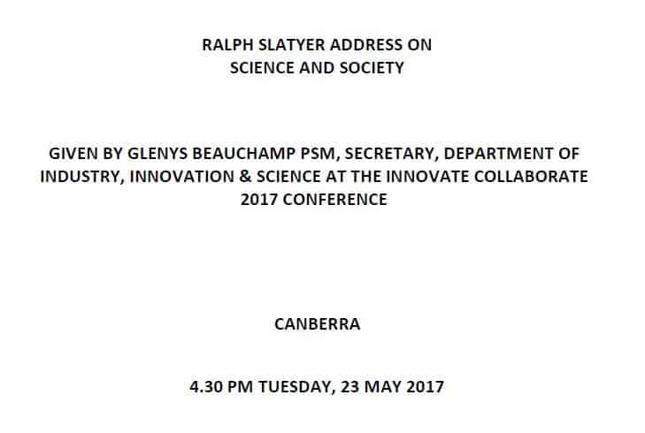 Ralph Slatyer address 2017